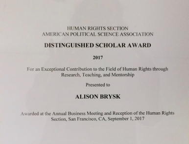 photo, APSA Distinguished Scholar Award, Human Rights Section