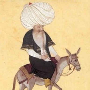 folk figure Nasreddin on donkey