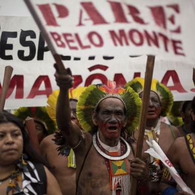 indigenous protestors against Belo Monte Dam in the Brazilian Amazon