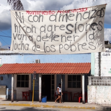 indigenous protest banner, Quintana Roo, Mexico