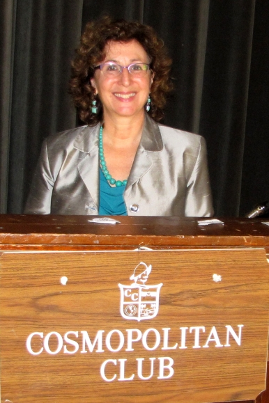 Alison Brysk at Cosmopolitan Club podium