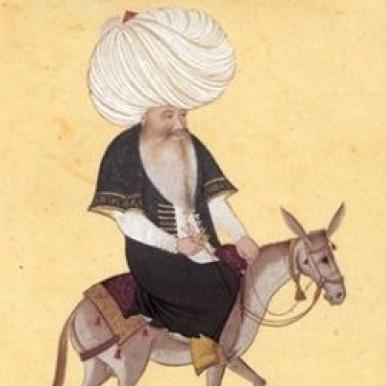 folk figure Nasreddin on donkey
