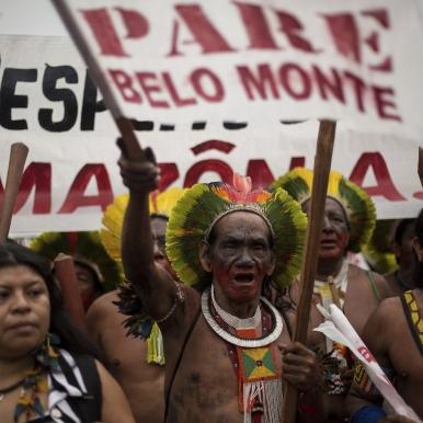 indigenous protestors against Belo Monte Dam in the Brazilian Amazon